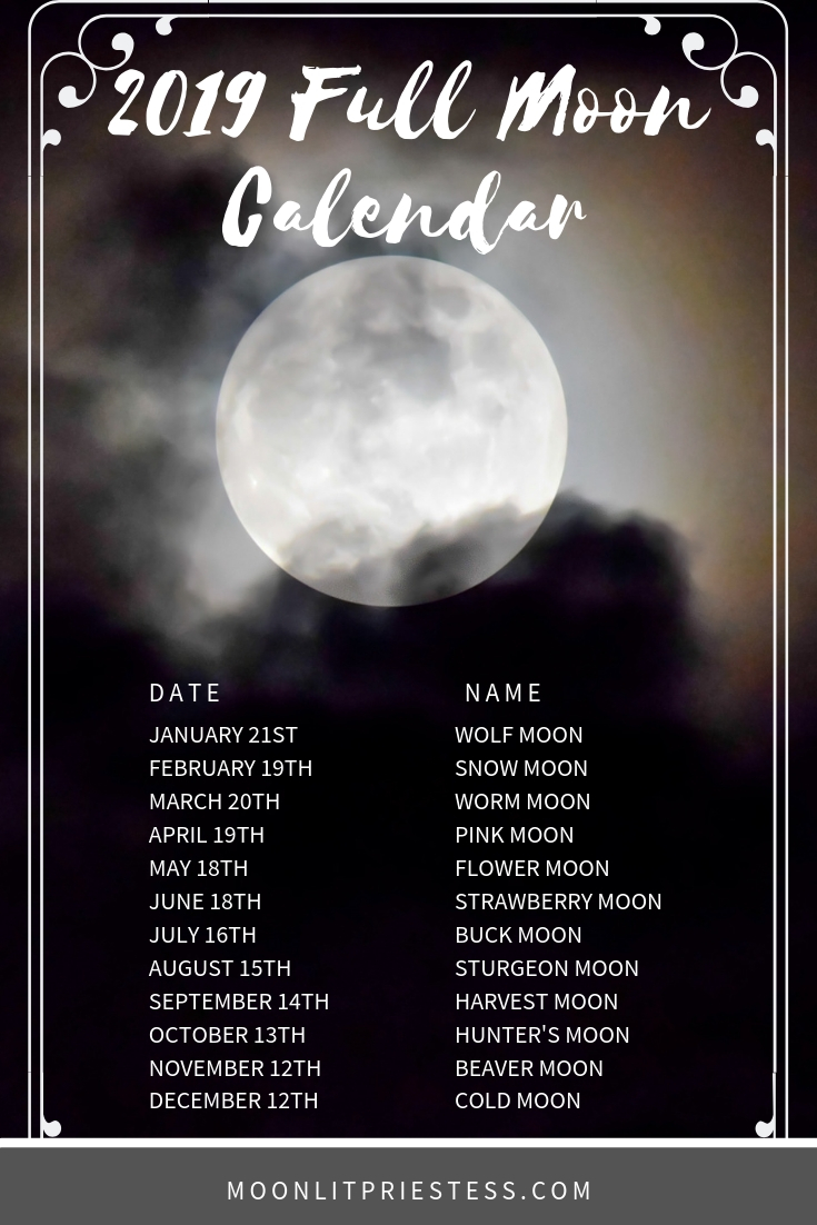 Full Moon Calendar For 2019 Full Moon calendar for 2019 with common full moon names and dates.